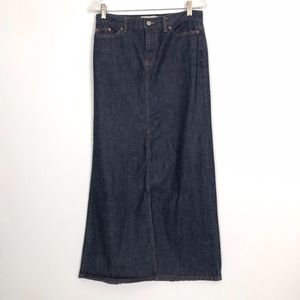 GAP Long Length Denim Jean Skirt Size 4 Dark Rinse